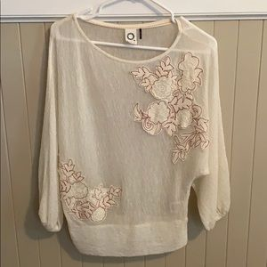 NEW Anthropologie off white top with embroidery